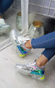 Metallic Silver Lace Up Trainers with Clear Soles by Larena Fashion