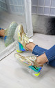 Metallic Gold Lace Up Trainers with Clear Soles by Larena Fashion