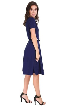 Cap Sleeve Belted Midi Skater Dress In Navy by Oops Fashion