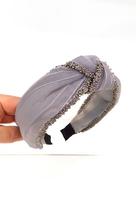 Grey Beaded Knot Hair Band by Olivia Divine Jewellery