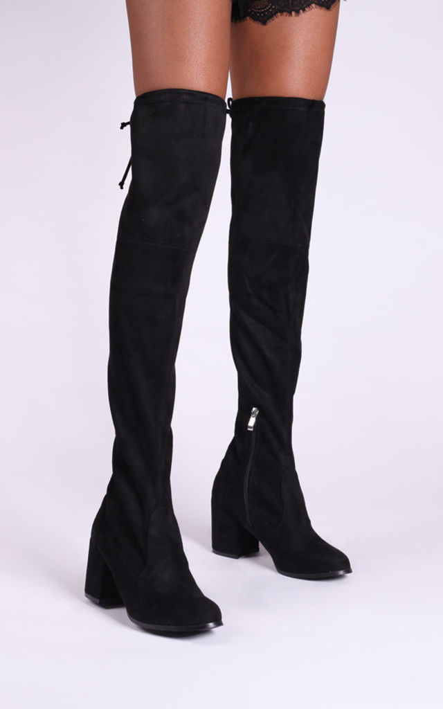 Amber Black Suede Block Heeled Over The Knee Boot with Tie Up Back by Linzi