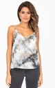 V-Neck Georgette Camisole in Grey Marble Print by likemary