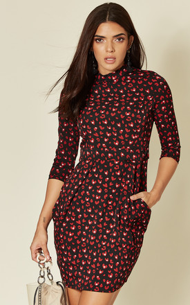 LEIA 3/4 SLEEVE MINI TULIP DRESS IN BLACK/RED HEARTS by Blue Vanilla