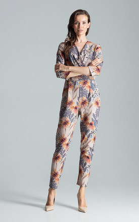 Wrap Front Jumpsuit in Grey Floral Print by FIGL