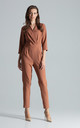 Wrap Front Jumpsuit with 3/4 Sleeves in Brown by FIGL
