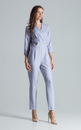 Wrap Front Jumpsuit with 3/4 Sleeves in Grey by FIGL