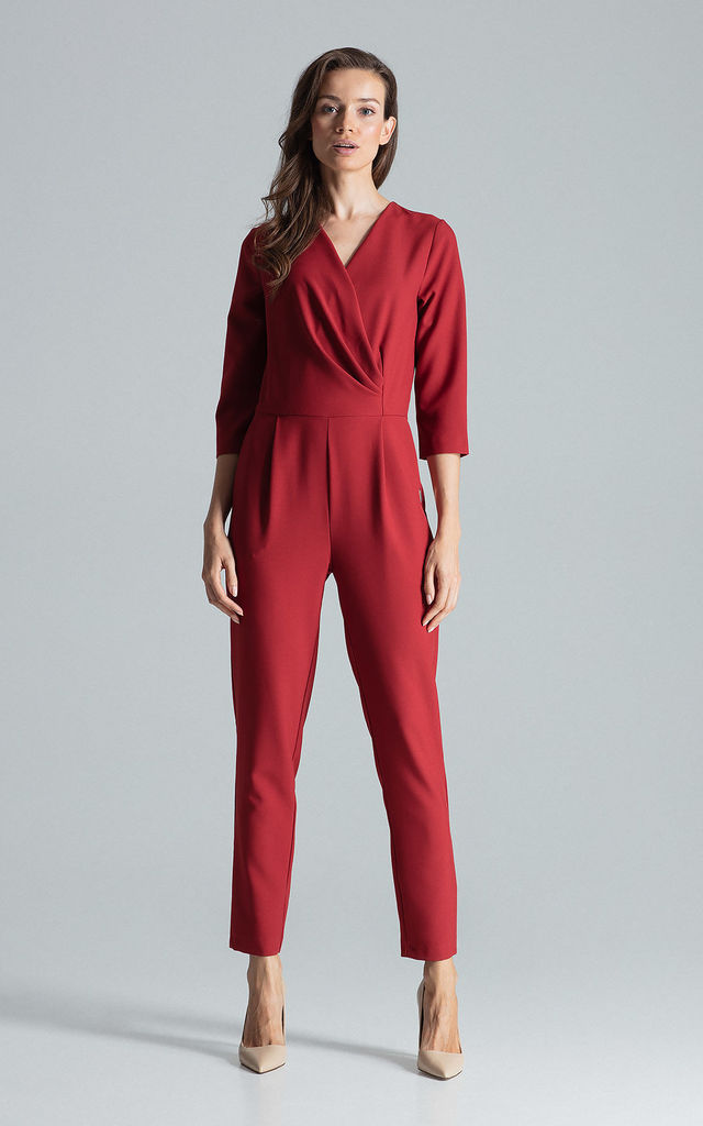 Wrap Front Jumpsuit with 3/4 Sleeves in Deep Red by FIGL