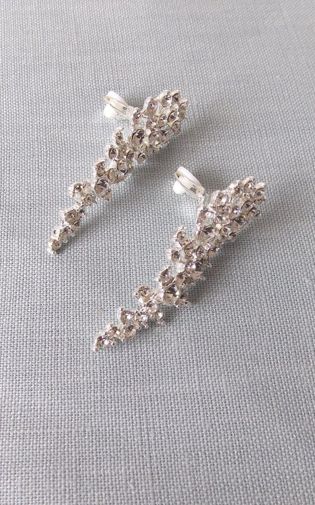 Clip On Silver Crystal Drop Earrings by Olivia Divine Jewellery