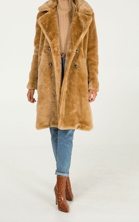 Double Breasted Faux Fur Teddy Coat in Camel by Want That Trend
