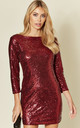 Red Long Sleeve Short Sequin Mini Dress With Plunge Back by LOVEMYSTYLE