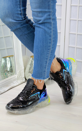 Metallic Black Lace Up Trainers With Clear Soles by Larena Fashion