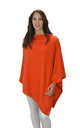 Orange Pure Cashmere Button Poncho Travel Wrap Scarf by Mimi & Thomas® cashmere & leather