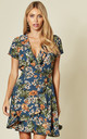 Ruffle Wrap Skater Dress in Green Teal Floral Print by TENKI LONDON