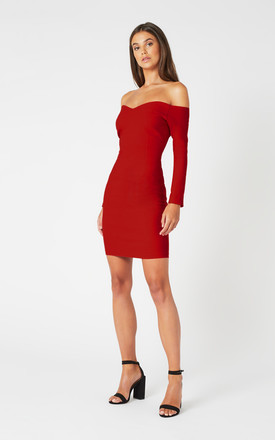 Kammie Red Bardot Mini Dress with Long Sleeves by Vesper247