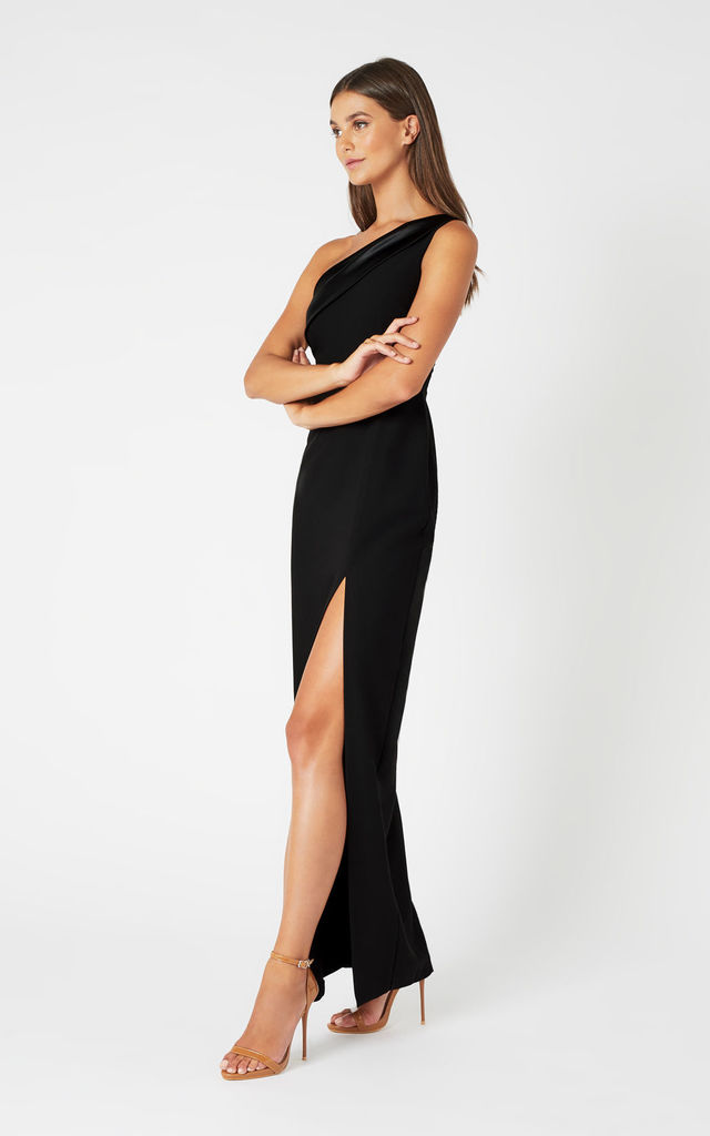 Fliss One Shoulder Maxi Dress in Black by Vesper247