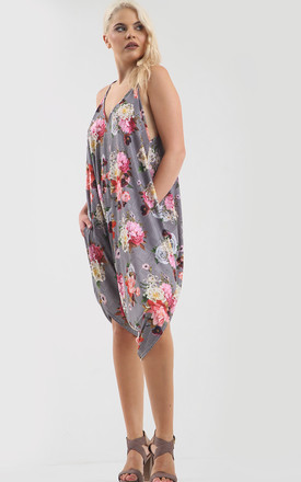 Jade Strappy Harem Jumpsuit in Grey Floral Stripe Print by Oops Fashion
