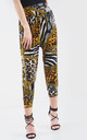High Waisted Cropped Trousers in Mixed Animal Print by Oops Fashion