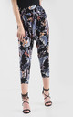 High Waisted Cropped Trousers in Blue Leaf Print by Oops Fashion
