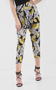 High Waisted Cropped Trousers in Yellow Leaf Print by Oops Fashion