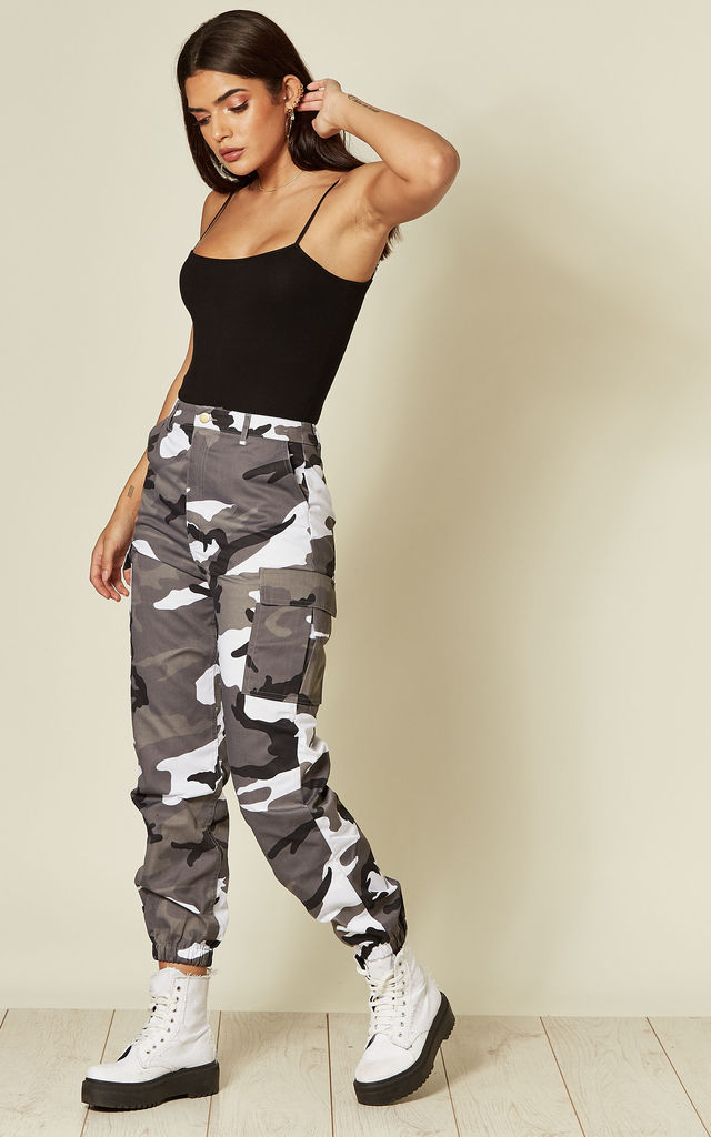 GREY CAMO PRINT CARGO TROUSERS by EDGE STREET