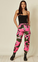PINK CAMO PRINT CARGO TROUSERS by EDGE STREET