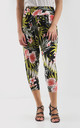 High Waisted Cropped Trousers in Green Tropical Print by Oops Fashion