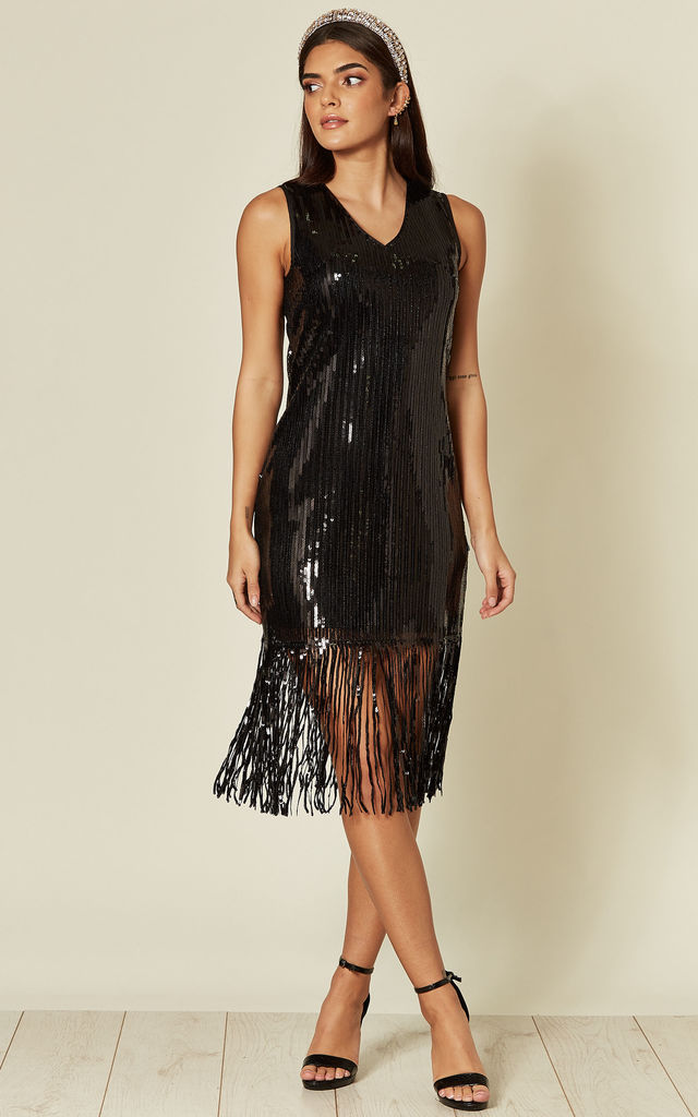 Sleeveless Sequin Shift Dress with Tassels in Black by Yumi