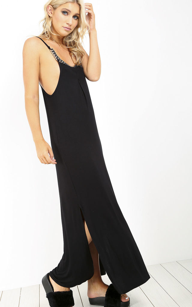 Strappy Jersey Maxi Dress with Side Split in Black by Oops Fashion