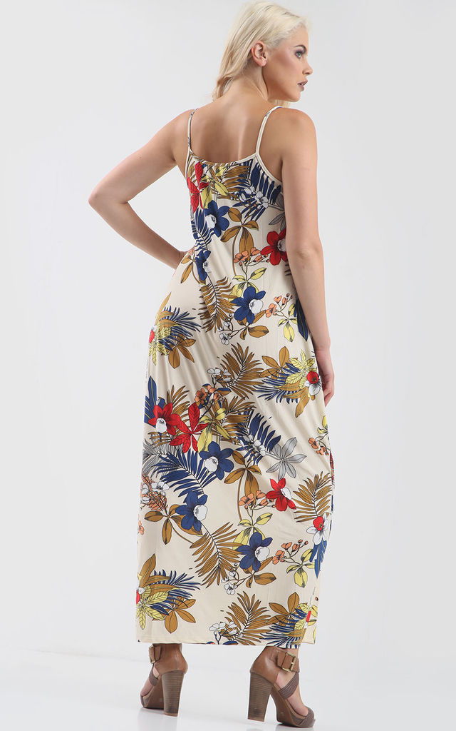 Oversized Strappy Maxi Dress in Colorful Floral Leaf Print by Oops Fashion