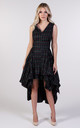 Harlow Asymmetric Dress in Navy/Red Tartan by Blonde And Wise