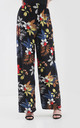 High Waisted Wide Leg Trousers in Red Yellow Floral Print by Oops Fashion