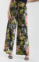 High Waisted Wide Leg Trousers in Green Tropical Print by Oops Fashion