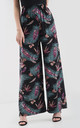 High Waisted Wide Leg Trousers in Black Tropical Print by Oops Fashion