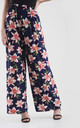 High Waisted Wide Leg Trousers in Navy Pink Floral Print by Oops Fashion