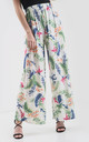 High Waisted Wide Leg Trousers in Cream Tropical Print by Oops Fashion