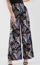 High Waisted Wide Leg Trousers in Blue White Leaf Print by Oops Fashion