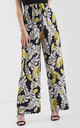 High Waisted Wide Leg Trousers in Yellow Leaf Print by Oops Fashion