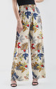 High Waisted Wide Leg Trousers in Colorful Leaf Print by Oops Fashion