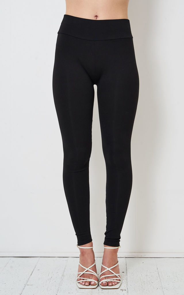 Aurora High Waist Basic Leggings in Black Jersey by love frontrow