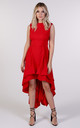 Wendy Asymmetric Dress in Bright Red by Blonde And Wise