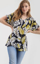Oversized Roll Sleeve T-Shirt in Yellow White Leaf Print by Oops Fashion