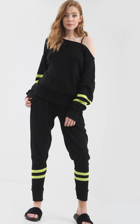 Black/Neon Green Loungewear Set | Top & Trousers by Oops Fashion
