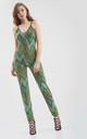 Fitted Strappy Jumpsuit in Green Zigzag Print by Oops Fashion