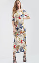 Off Shoulder Maxi Dress in Colorful Leaf Print by Oops Fashion