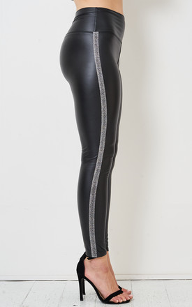 Aylin High Waisted Black Faux Leather Leggings with Silver Stripe by love frontrow