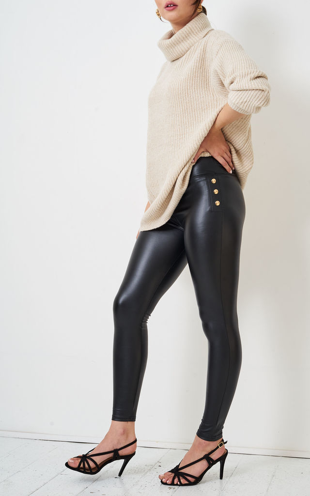 Valeria Black High Waist Faux Leather Button Leggings by love frontrow