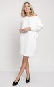 Cold Shoulder Jumper Dress in White, white dress by MKM Knitwear Design