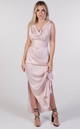 Willow Cowl Neck Maxi Dress in Nude by Blonde And Wise