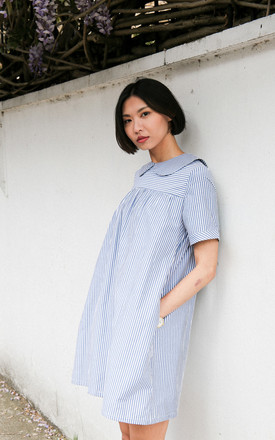 Ally Collared Babydoll Shift Dress In Blue Stripe by Darla Product photo