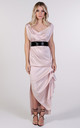 Willow Nude Cowl Neck Maxi Dress Black Sequin Belt by Blonde And Wise